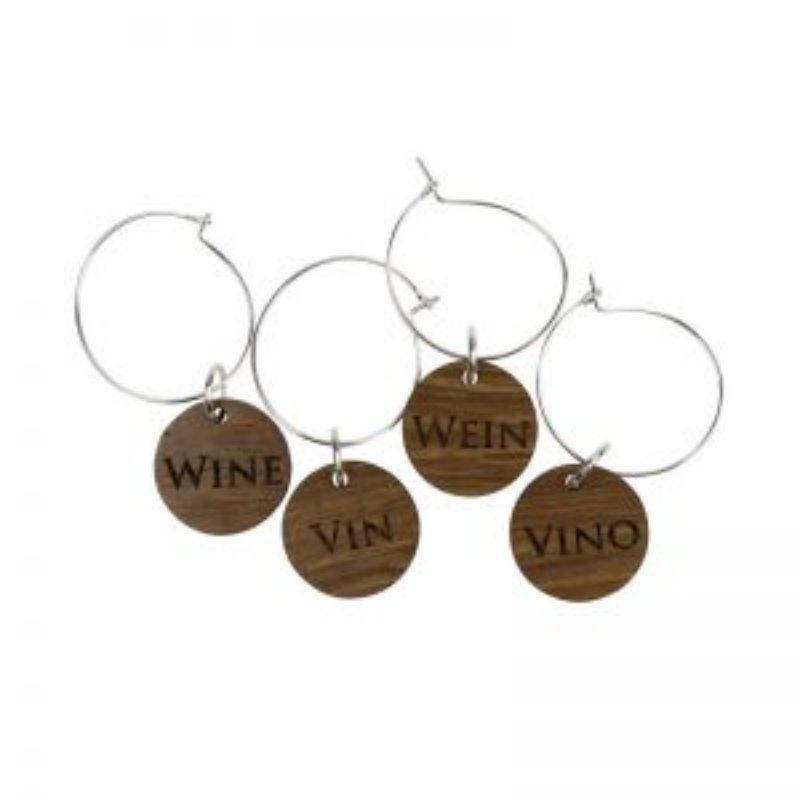 Wine Barrel Wood Wine Charms - wine vin vino