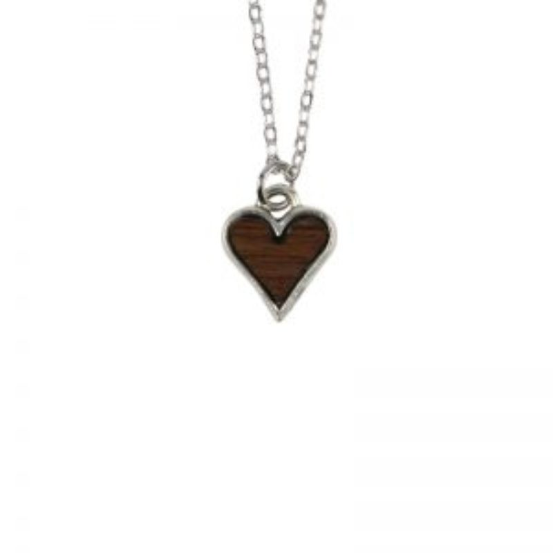 Wine Barrel Wood Heart Necklace
