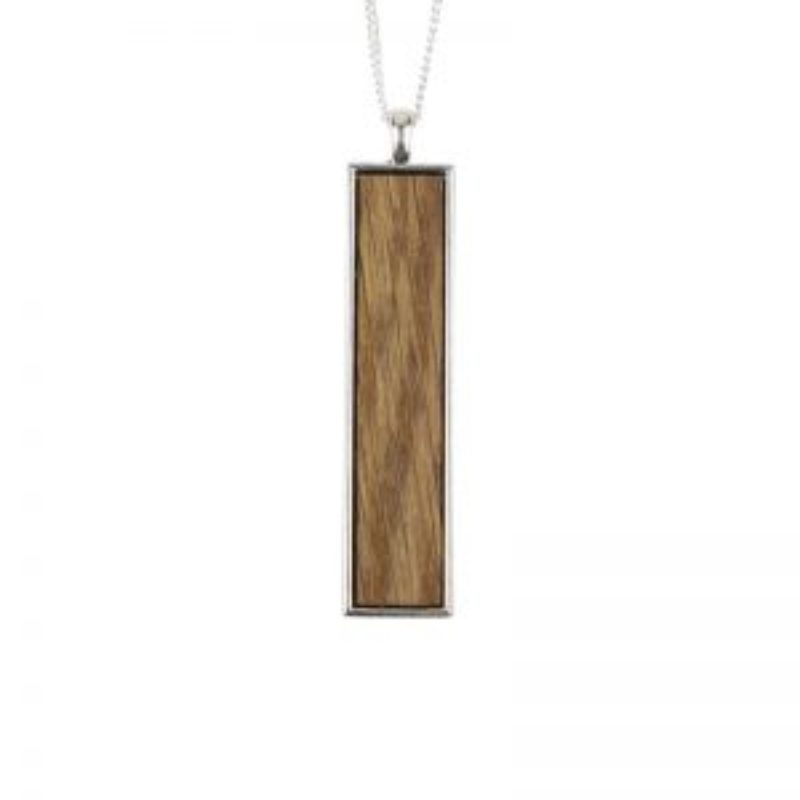 Wood Wine Barrel Necklace Vertical Bar on long chain