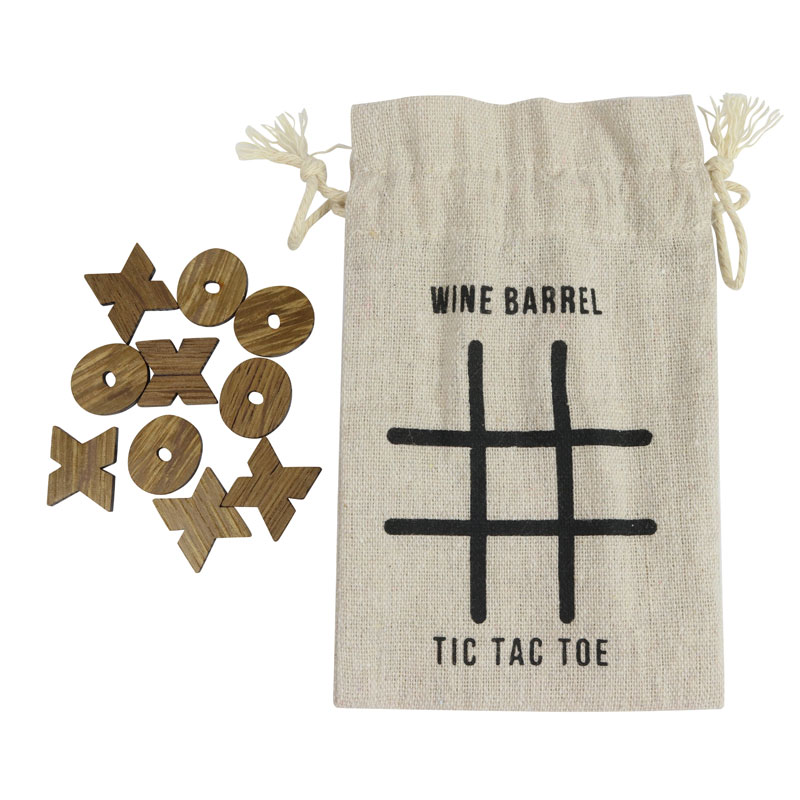 Wine Barrel Games - tic tac toe wine barrel pieces with storage bag